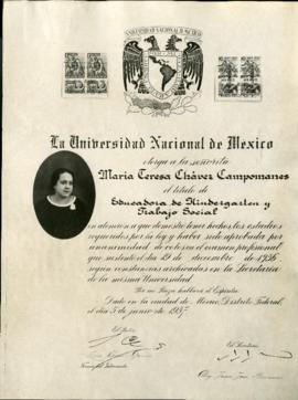 National University Mexico certificate, Maria Teresa Chavez Campomanes, 1937
