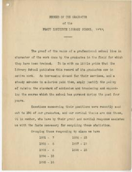 Record of the Graduates of the Pratt Institute Library School 1899