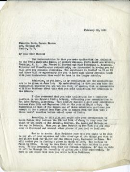Letter to María Teresa Chávez advising her to apply to Pratt, 1930